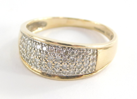 A 9ct gold half hoop eternity ring, set with pave set cz stones, in a white gold setting, ring size U½, 3.6g all in.