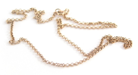 A 9ct rose gold curb link chain, 44cm long, 2.6g.