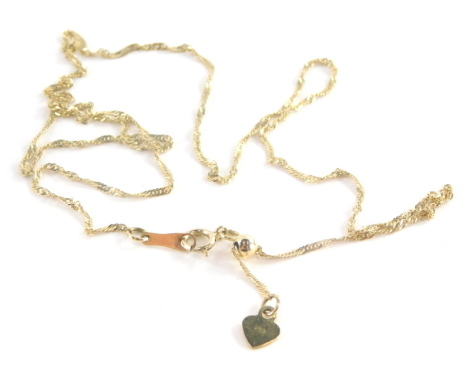 A fine link neck chain, with love heart emblem bearing the initial A, yellow metal stamped 10ct, 44cm long, 1.3g all in.