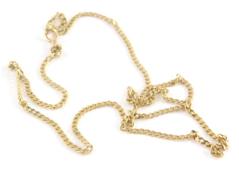 A 9ct gold curb link neck chain, with loop clasp, 42cm long, 3g.