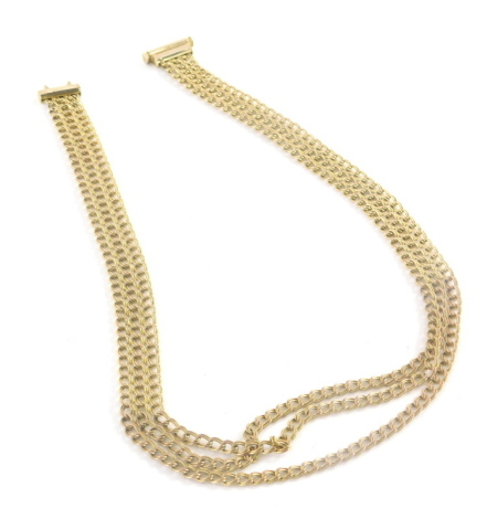 An Italian 9ct gold necklace, with three row curb link design, split and graduated two pendant section with slide in clasp, 40cm long overall, 13.3g all in.