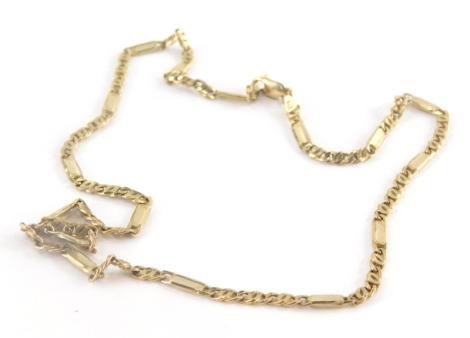 A 9ct gold Byzantine link necklace, 44cm long, 12g.