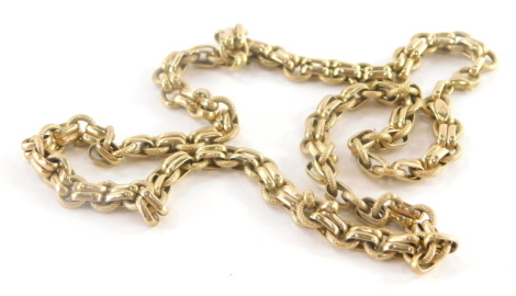 A 9ct gold fancy link neck chain, with hammered loop and two link design, with circular clasp, 46cm long, 13.9g all in.