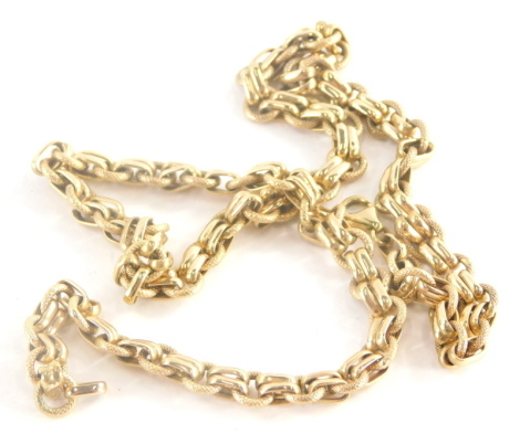 A 9ct gold necklace, with hammered link and two row sections, 46cm long, 13.8g.