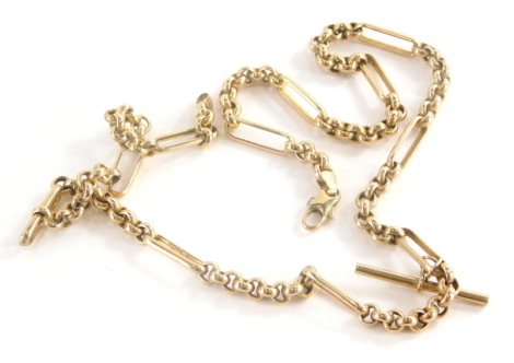 A 9ct gold watch chain, converted to a necklace, with elongated bars and four curb link sections, with T bar, 49cm long overall, 15.7g all in.