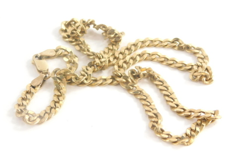 A 9ct gold patterned curb link neck chain, 52cm long overall, 20.3g.