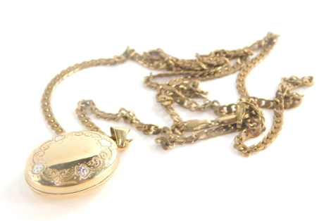 A 9ct gold pendant and chain, the oval locket with hammered detailing of flowers and bi-coloured design 3cm high, on a flattened curb link chain 54cm long, each marked 375, 7.9g all in.
