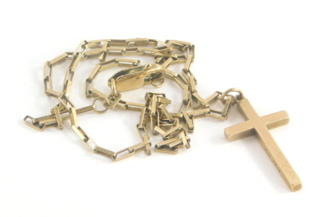 A 9ct gold crucifix pendant and chain, the crucifix of plain design with makers stamp AC & Co, 3cm high, on an elongated 9ct gold box link chain, 48cm long, 7.6g.