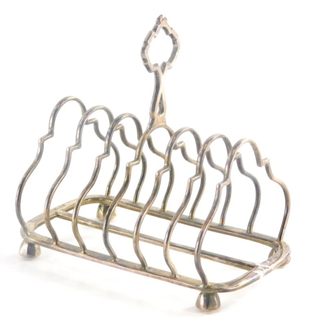 An Edward VII silver six division toast rack, by Walker and Hall, 6¼oz.