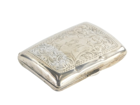 A George V silver cigarette case, initialled to front GM and engraved with scrolls, leaves etc., Birmingham 1916, 1¾.