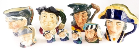 A collection of Royal Doulton character jugs, to include four large examples, Granny, Lord Nelson, Pied Piper and Mine Host. (9)