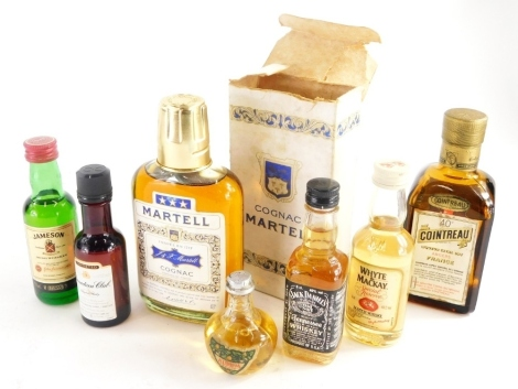 A quantity of alcohol miniatures, to include Cointreau, Jack Daniels, Whyte and Mackay whisky, Martell, etc. (a quantity)