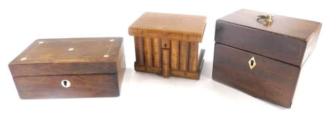 A collection of treen boxes, to include a 19thC rosewood box, with metal stringing and mother of pearl embellishments, 7.5cm high, 18cm wide, 11cm deep, in mahogany tea caddy, with a later brass handle and ivory keyhole, etc. (3)