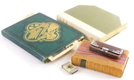 Gilbert White (rev). The Natural History of Selbourne, leather binding with marbled boards, London Bell and Daldy York Street Covent Garden 1872, Nottingham: It's Castle, cloth bound, a Molassine Co. Ltd vesta case, a ladies leather concertina purse, with