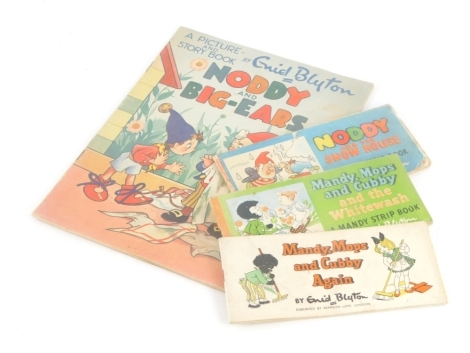 Blyton (Enid) A PICTURE- AND STORY-BOOK NODDY AND BIG-EARS, publisher's wrappers, n.d., and 3 strip books, NODDY AND THE SNOW HOUSE;- MANDY MOPS AND CUBBY AND THE WHITEWASH;- MANDY MOPS AND CUBBY AGAIN (4)