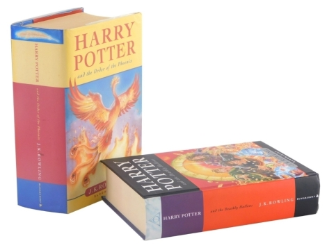 Rowling, J.K. Harry Potter and The Order of The Phoenix, first edition hardback, published by Bloomsbury, ISBN number 0747551006, and Harry Potter and The Deathly Hallows, hardback first edition, published by Bloomsbury ISBN number 9780747591054. (2)