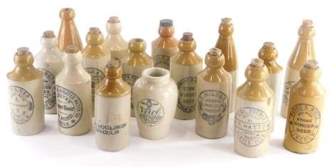A collection of stoneware bottles, mainly for ginger beer etc., for P.Milner Lincoln, Skelton Lincoln, makers Marfleet, Arnold and Co. Lincoln. (1 tray)