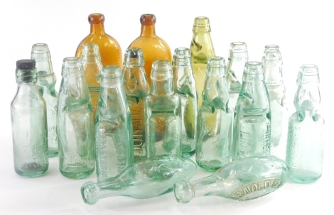 A collection of glass bottles, to include P Milner Lincoln, R.A Dobson Lincoln, Arnold and Co. Lincoln Ltd, etc. (1 tray)