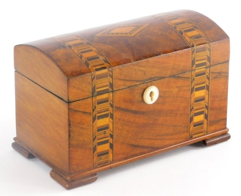 A 19thC and later dome top tea caddy, with parquetry cross banded decoration, the hinged lid revealing a lined interior, 11cm high, 20cm wide, 11cm deep.