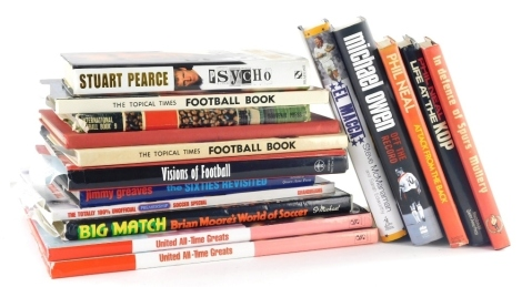 Various football related autobiographies, Liverpool Neal (Phil), Life at the Kop, hardback with dust jacket, signed, Michael Owen autobiography, signed, and a small quantity of others, together with various books, annuals, football related items, The Tour