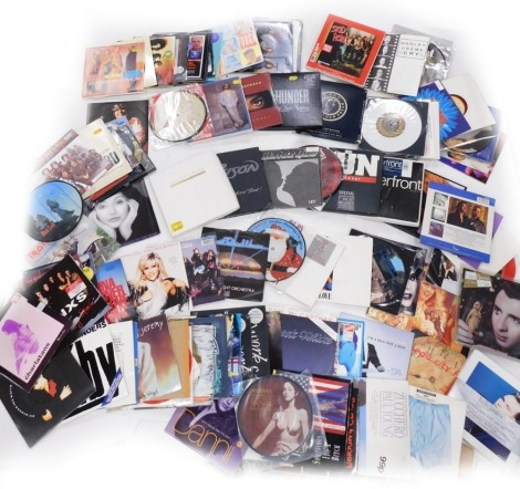 A collection of 45rpm singles, to include Meatloaf, Dead Ringer For Love, Status Quo Lies, Eric Clapton Bad Love, Michael Jackson In The Closet, T'pau Road To Our Dream, George Harrison What Is Life, Skid Row Youth Gone Wild, etc. (1 box)