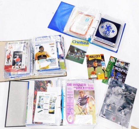 A collection of Chelsea football programmes predominantly from the 1970's, 80's, etc., to include Chelsea season 1974-75, Chelsea Football League Division Two Oldham Athletic 10th January, Chelsea v Carlisle August 28th, Chelsea v Fulham 8th April 1977, e