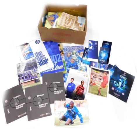 A collection of Chelsea Football Club related items, to include 2001, 2000, 2002 calendars, Carling Cup Final 2008 programme, Munich Final 2012 programme, Sunday Pictorial Aston Villa v Chelsea match day programme, 20th May 2000, signed to the front by Di