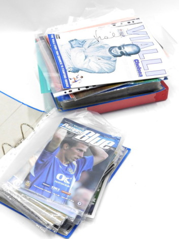 A collection of Chelsea Football Club football programmes, predominantly from the mid 2000's, the home and away, to include Betis v Chelsea, 1st November 2005, Chelsea Football Club Official Centenary match day magazine 05-06, various football player card
