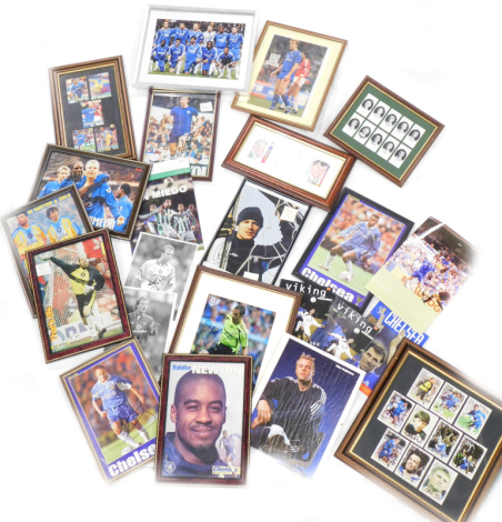 A collection of football related ephemera, to include photographic prints of various Chelsea Football Cub players, some bearing signatures, to include Alan Hudson, Carlo Cudicini, football cards bearing various signatures, unframed photos, etc. (1 box)