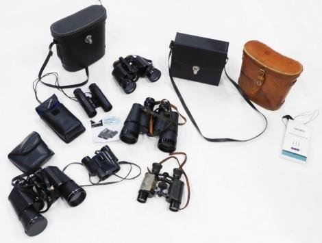 Various pairs of binoculars, to include Kalimar field binoculars, cased, a pair of Europa 8x40 cased binoculars, etc. (1 box)