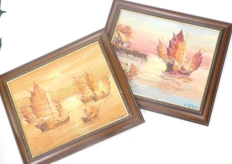 C.W.Lam (20thC School). Oriental fishing boats, a pair, acrylic on canvas, 48cm x 40cm. (2)