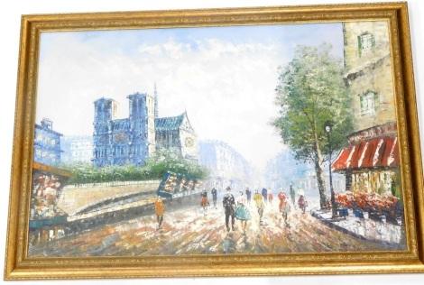 A Burnett (20thC School). Parisian street scene, oil on canvas, 90cm x 60cm.