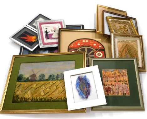 A quantity of framed embroidered panels, various styles, images to include harvesting scenes, oriental dragons by a Rosa Chennells.