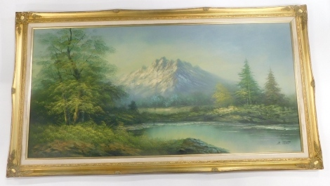 M Paulus (20thC Continental School). Stream before trees and mountain on a winter's day, oil on canvas, signed, 59cm x 122cm.