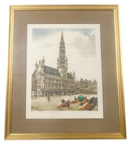 F Hillilinck (20thC). Brussels Hotel A Bile, limited coloured etching, signed, titled and numbered 228/550 to the mount, 42cm x 33cm, various signatures verso.