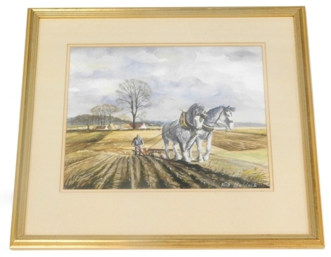 Keith Baldock (20thC). Heavy horse ploughing field before cottage and trees, gouache, signed, 29cm x 38cm.