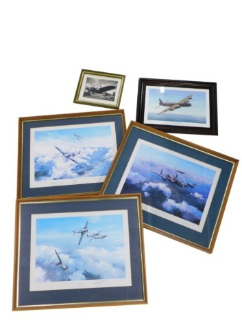 After Robert Taylor. Hurricane, print, possibly signed by one of the pilots, 33cm x 47cm, other prints by the artist to include Spitfire and Lancaster, photographic print of a plane, etc., (a quantity)
