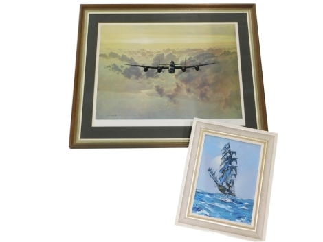 After Gerald Coulson. Outbound Lancaster Crossing The East Coast, print, possibly signed by the aircraft pilot, 53cm x 76cm, and ship on calm waters, acrylic on board, indistinctly signed, 37cm x 27cm. (2)