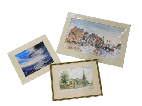 F.H. Webster (20thC British School). St Giles Church Balderton, watercolour on paper, signed and dated 88, 20cm x 30cm, Elizabeth Willis, seascape, oil on board, signed, 24cm x 30cm, and Sandy Gore Custom House Quay Weymouth, watercolour on paper, signed