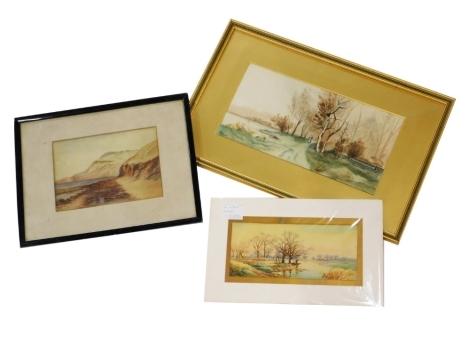 E.M. Poole (Early 20thC British School). River landscape, watercolour on paper , 13cm x 28cm, a beach scene, indistinctly signed, watercolour on paper, 17cm x 25cm, and a further watercolour. (3)