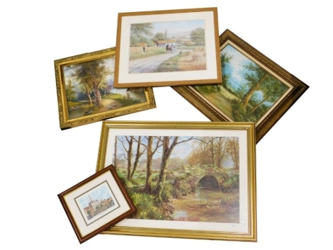 A collection of pictures, prints, etc., to include After Spencer Coleman, rural scene depicting horses, cottage, etc., print, 39cm x 49cm, a signed limited edtion print of East Retford, etc. (a quantity)