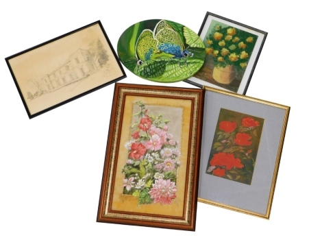 A collection of pictures, prints, etc., to include floral still life, oil on board, signed C D, 30cm x 22cm, J. Jones, Southfield House, pencil on paper, signed and dated 85, 28cm x 44cm, etc. (a quantity)