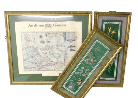 An Oriental silk picture depicting figures, buildings, etc., another similar with birds and a Jardines printed map of Taiwan. (3)