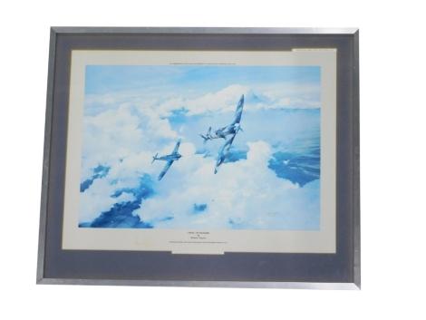 Robert Taylor (b.1951). Duel of Eagles, Douglas Bader and Adolf Galland over Northern France, 1941, indistinctly signed by Douglas Bader and Adolf Galland, print, 32cm x 35cm.