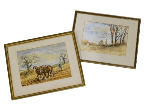 William Page (20thC British School). Church and Cottage scene, watercolour on paper, signed, 25cm x 34cm, and a horse ploughing scene, watercolour on paper, indistinctly signed, 27cm x 37cm. (2)