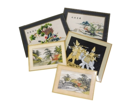 A collection of oriental and eastern related pictures, to include two Chinese silk embroideries, one depicting peacock, trees, flowers,etc., the other a mountainous landscape with man on bridge, an Indian print on linen of two elephants in combat, 43cm x