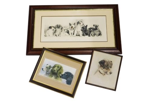 A collection of dog related prints, to include Jack Russell Terrier, watercolour on paper, initialled, 30cm x 25cm, Faithful Friends print, 15cm x 29cm, and an engraving of puppies, indistinctly signed. (3)