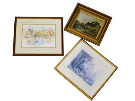 Early 20thC British School. Timber framed cottage in rural scene, oil on board, signed D.M.C 1921, 20cm x 24cm, huntsman and hounds, signed limited edition print no. 70/250, 22cm x 27cm, and a signed print of Bruges. (3)