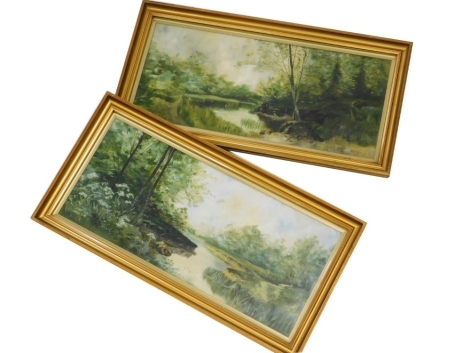 D M Clarke (20thC School). Woodland landscapes, a pair, oil on canvas, signed and dated 1926, 30cm x 72cm. (2)