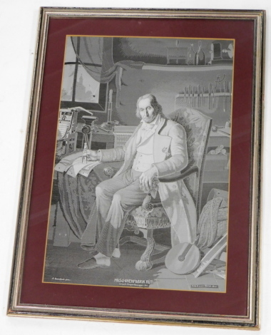An embroidered panel, of a gentleman in 19thC dress in his study, possibly Swiss, 31cm x 44cm.